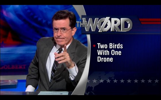 Colbert's The Word – Two Birds With One Drone