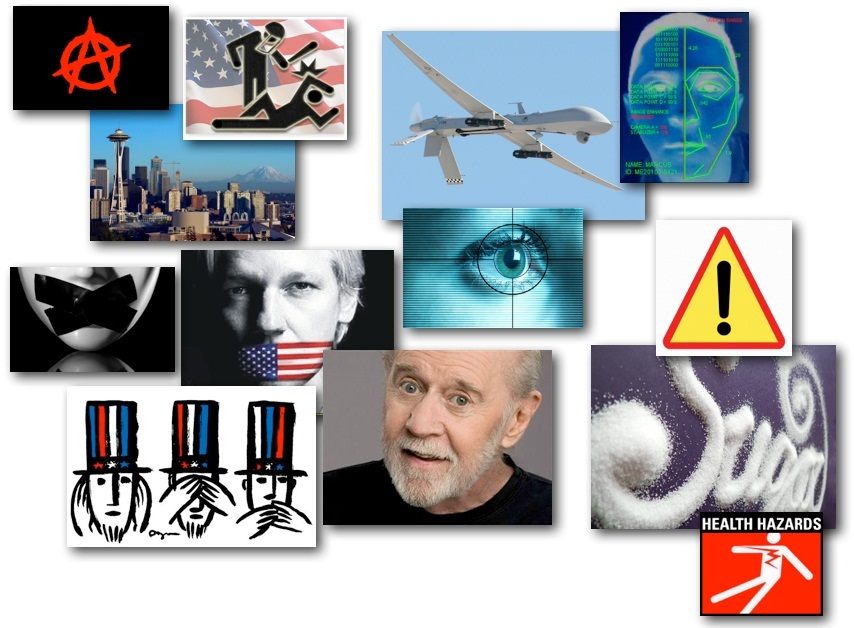 October 22, 2012 – DCMX Radio: Whistleblowers Gagged, Drones Tracking Faces, George Carlin on Politician Speak, Sugar Dangers