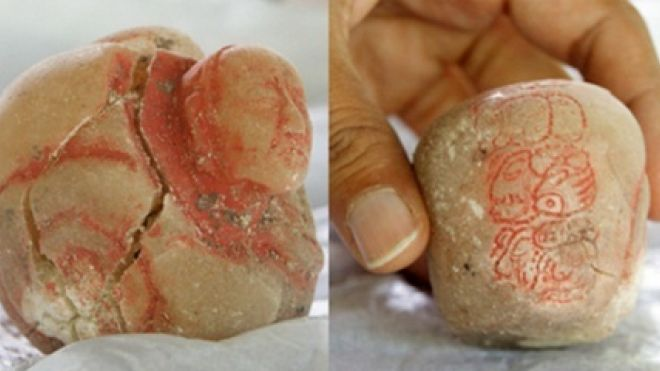 The carved alabaster vessel (shown from two sides) found in the burial chamber caused the archaeologists to conclude the tomb was that of Lady K'abel. (El Peru Waka Regional Archaeological Project)