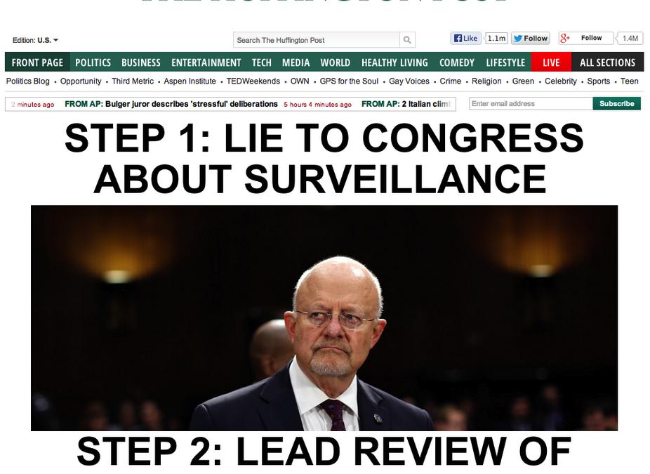 President Appoints Top Spy Who Lied to Congress to Lead Review of Surveillance Programs